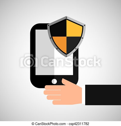 ter, smartphone, escudo, proteção, mão - csp42311782