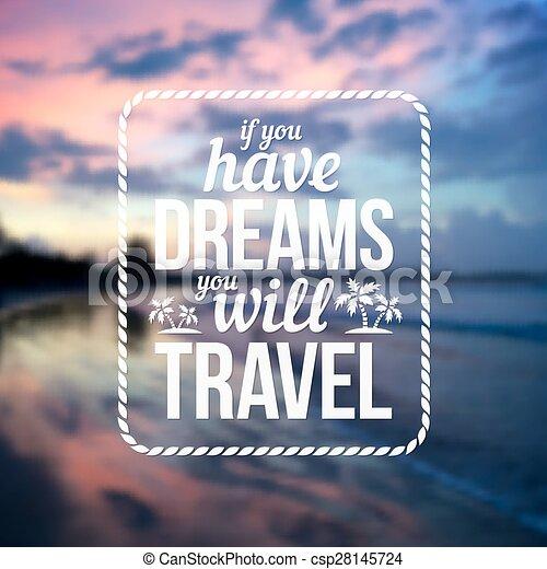 ter, texto, viagem, tipográfico, obscurecido, vontade, desenho, fundo, oceano ocaso, sonhos - csp28145724