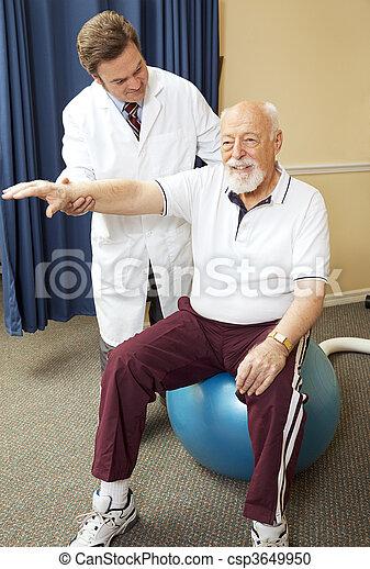 terapia fisica, dottore, dà - csp3649950