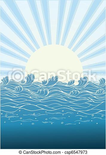 természet, nap, ábra, day., vektor, tenger, lenget, táj - csp6547973