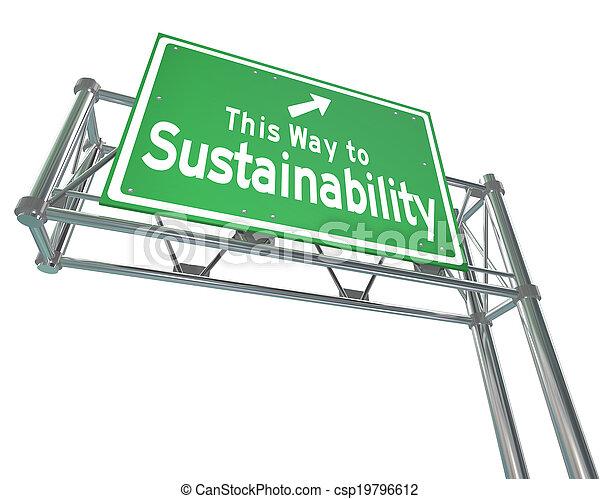 terme, everyone, avantages, mots, business, ceci, gérer, long, signe, autoroute, durabilité, pratiques, vert, plan, manière, renouvelable, viable, ressources, illustrer - csp19796612