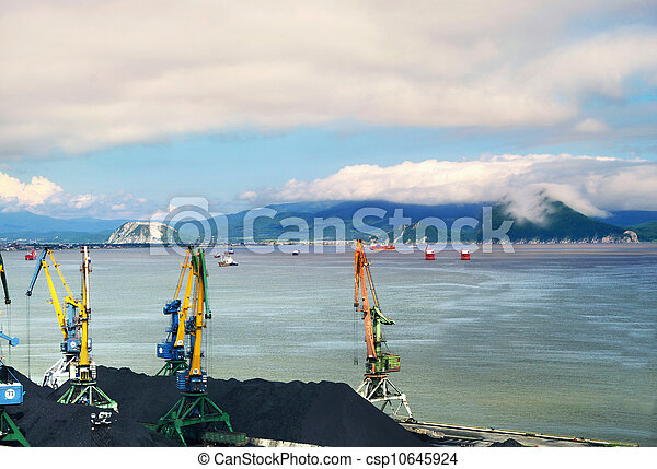 terminal, charbon, chargement, port - csp10645924