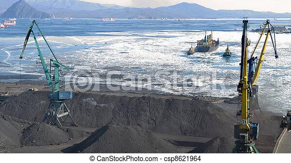 terminal, charbon, chargement, port - csp8621964