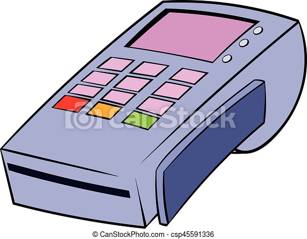 terminal for credit card icon cartoon terminal for credit card icon