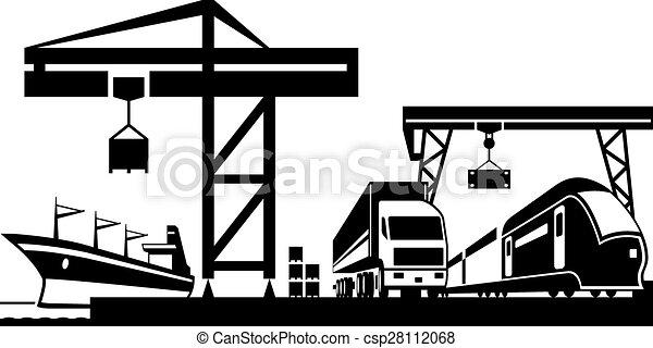 terminal, ladung, szene - csp28112068