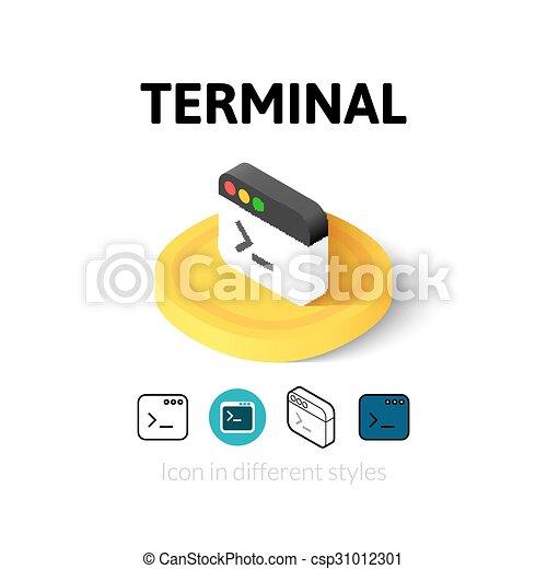 terminal, różny, styl, ikona - csp31012301