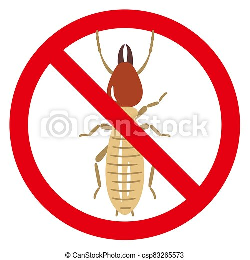 termite in prohibited red circle sign isolated on white background. - csp83265573