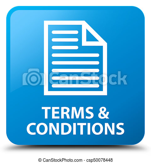 Terms and conditions (page icon) cyan blue square button - csp50078448