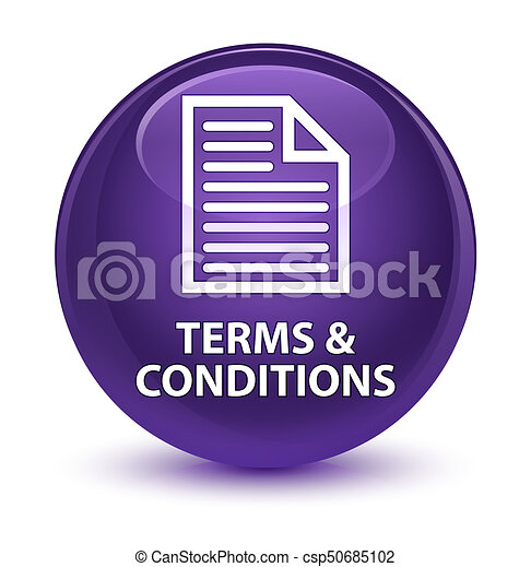 Terms and conditions (page icon) glassy purple round button - csp50685102