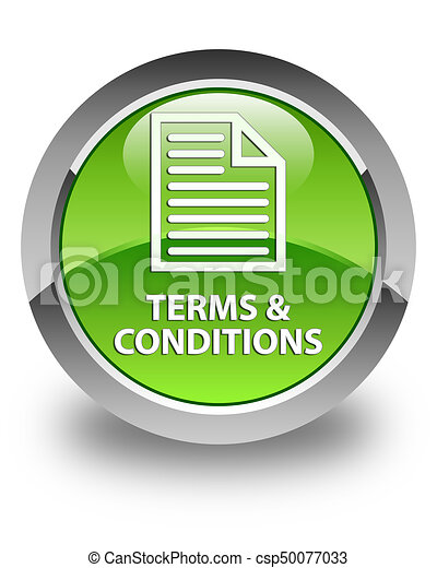 Terms and conditions (page icon) glossy green round button - csp50077033