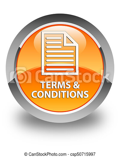 Terms and conditions (page icon) glossy orange round button - csp50715997