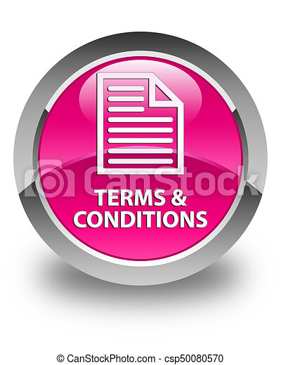 Terms and conditions (page icon) glossy pink round button - csp50080570