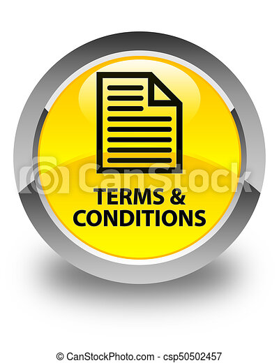 Terms and conditions (page icon) glossy yellow round button - csp50502457