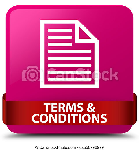 Terms and conditions (page icon) pink square button red ribbon in middle - csp50798979
