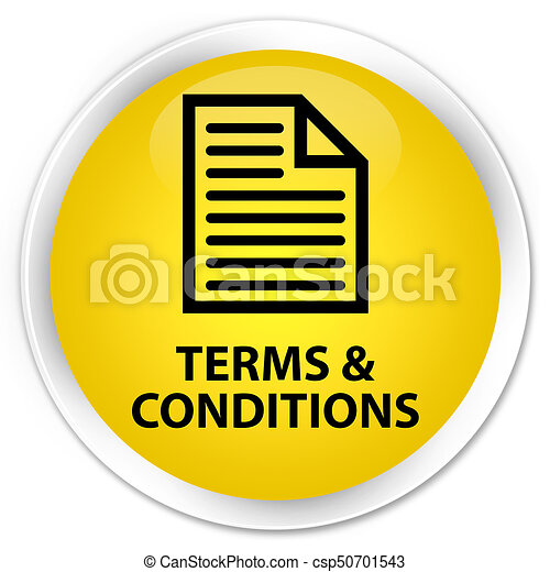 Terms and conditions (page icon) premium yellow round button - csp50701543