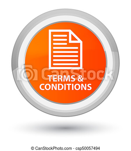 Terms and conditions (page icon) prime orange round button - csp50057494