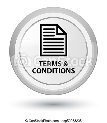 Terms and conditions (page icon) prime white round button - csp50068235