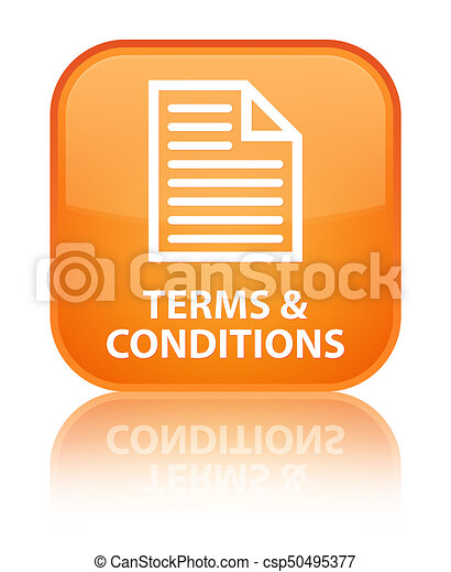Terms and conditions (page icon) special orange square button - csp50495377