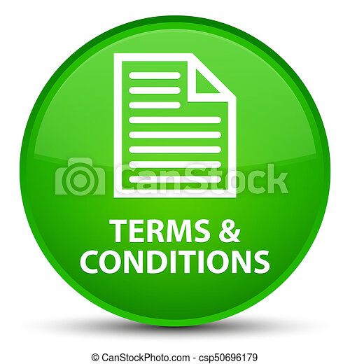 Terms and conditions (page icon) special green round button - csp50696179