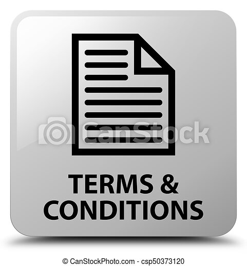 Terms and conditions (page icon) white square button - csp50373120