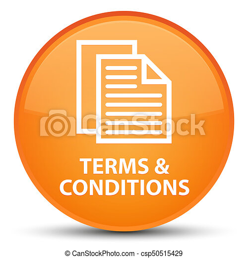 Terms and conditions (pages icon) special orange round button - csp50515429