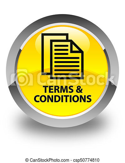 Terms and conditions (pages icon) glossy yellow round button - csp50774810