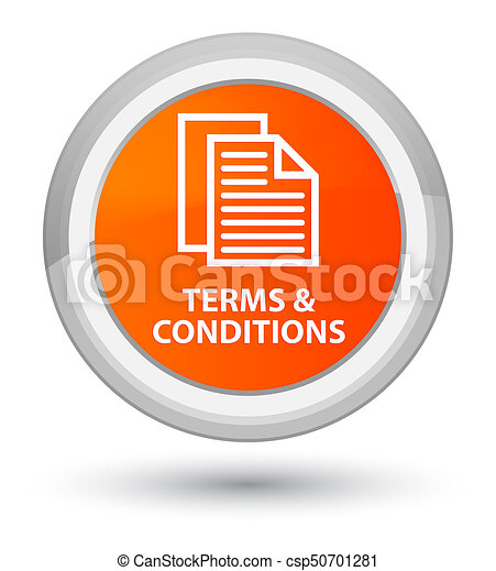 Terms and conditions (pages icon) prime orange round button - csp50701281