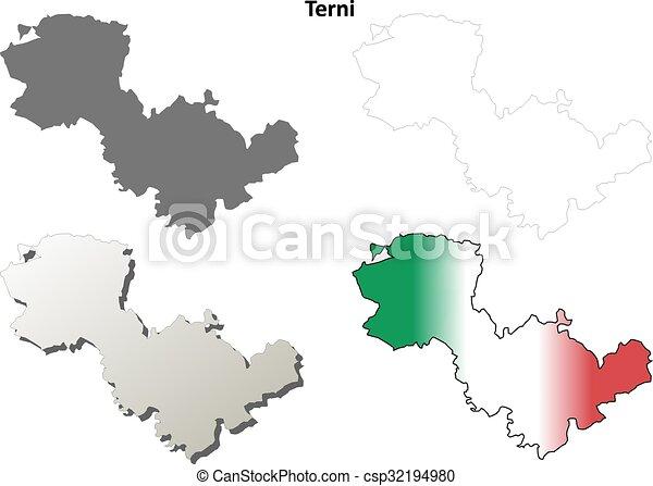 Terni blank detailed outline map set Terni province blank vector