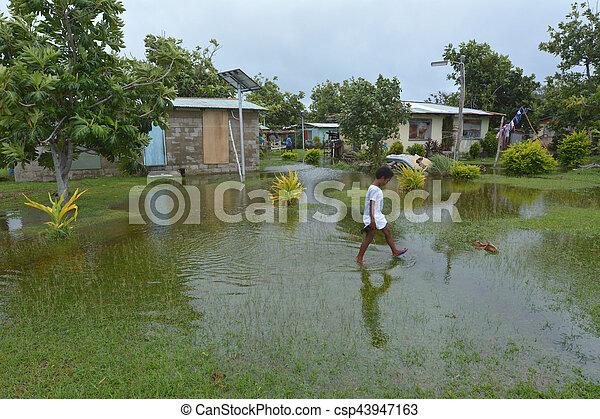 terra, alluvionato, sopra, fijian, camminare, ragazza, figi - csp43947163