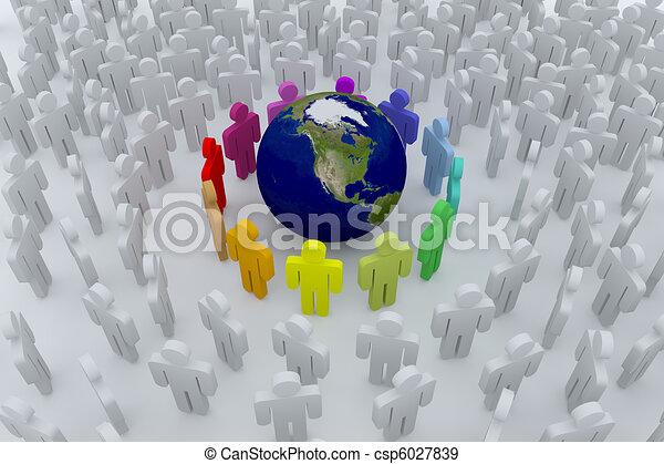 terra, cor, grupo, ao redor, pessoas - csp6027839