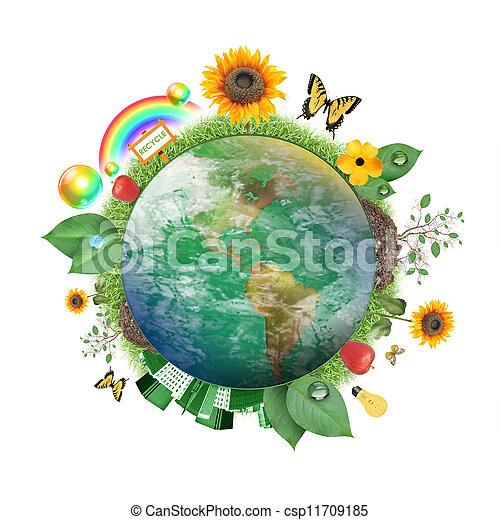 terra, natura, verde, icona - csp11709185