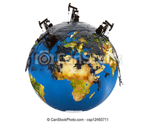 terra pianeta, sopra, martinetti, pompa, fuoriuscita, olio - csp12450711