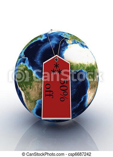 terra pianeta, vendita, etichetta - csp6687242