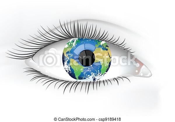 terra planeta, olho, desaturated - csp9189418