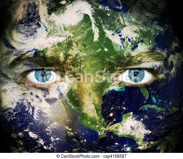 terra planeta, olhos, salvar, - - csp4156587
