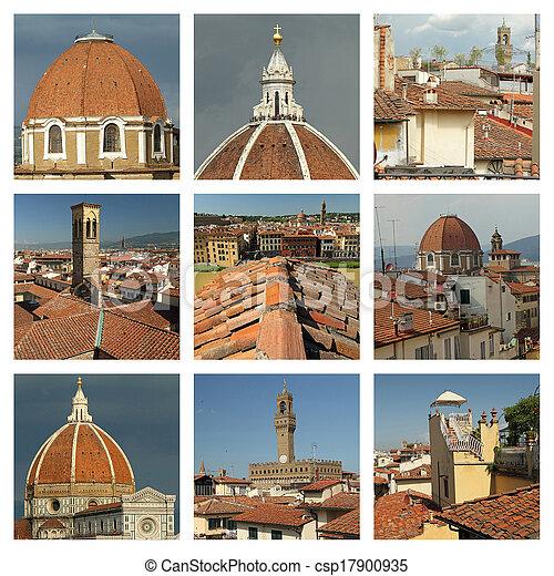 La colección de tejados de terracota en Florencia - csp17900935