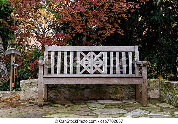 terrasse, jardin, automne