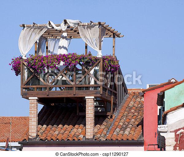 Terrazzo, tetto, venezia. Costruzione, venezia, fiore, venezia ...
