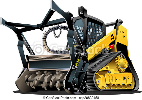 terre dégagement, vecteur, dessin animé, mulcher - csp20830458