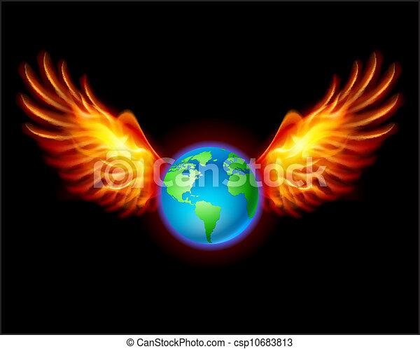terre planète, ailes, ardent - csp10683813