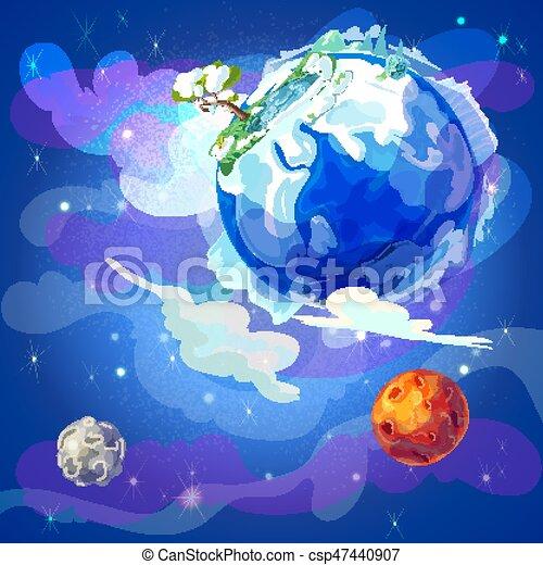 terre planète, dessin animé, gabarit, espace - csp47440907