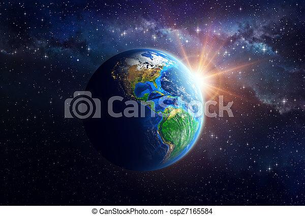 terre planète, espace extérieur - csp27165584