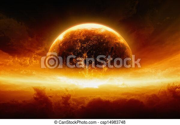 terre planète, exploser, brûlé - csp14983748