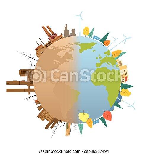Terre Planète Globe Propre Pollué Plat Concept Globe