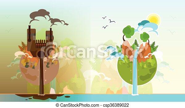 Terre Planète Globe Propre Pollué Plat Gaspillage Globe