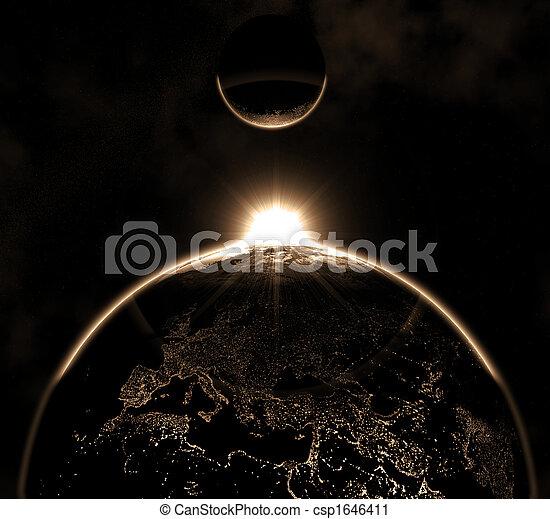 terre planète, hi-res, lune - csp1646411
