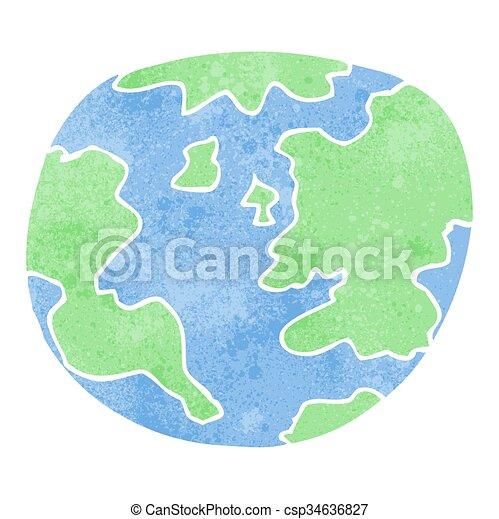 Terre Planète Retro Dessin Animé