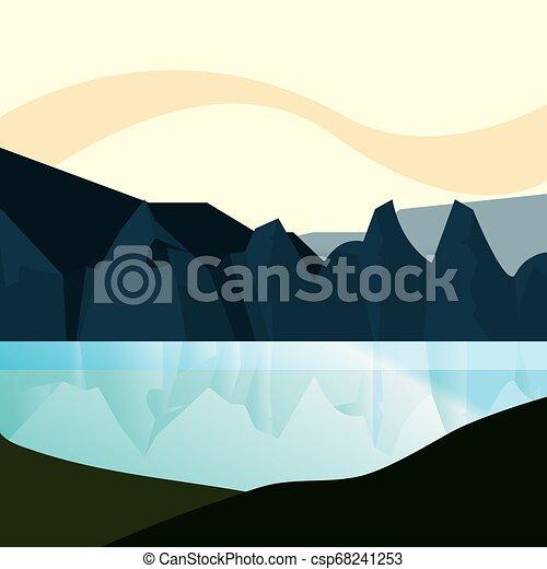 terreno montanha, natural, lago, paisagem - csp68241253
