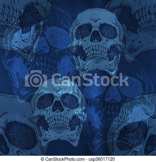 Terrible frightening seamless pattern with skull  - csp36017120