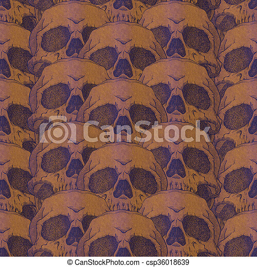 Terrible frightening seamless pattern with skull  - csp36018639
